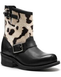COACH Frye For Coach Ocelot Print Engineer Boot - Black