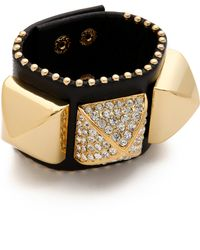 Juicy Couture Pave Pyramid Leather Cuff - Metallic