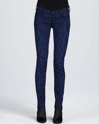 7 For All Mankind Skinny Jacquard Jeans Royal Blueblack