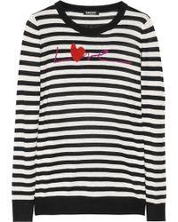 DKNY Striped Silk and Cashmereblend Sweater black - Lyst