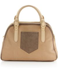 Adrienne Vittadini Gio Leathersuede Satchel Bag Ginger - Natural