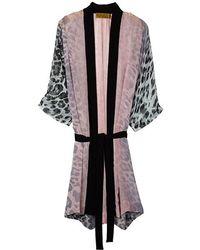 Nicole Miller Luminous Leopard Robe - Gray