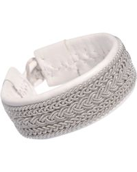 Maria Rudman - Wide Leather Pewter Embroidered Bracelet - Lyst