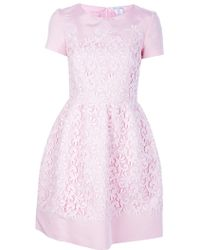 Oscar de la Renta Flared Lace Overlay Dress pink - Lyst