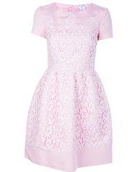 Oscar de la Renta Flared Lace Overlay Dress - Lyst