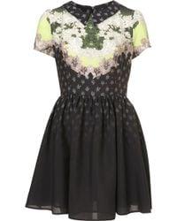 Topshop Neon Lace Print Flippy Dress - Lyst