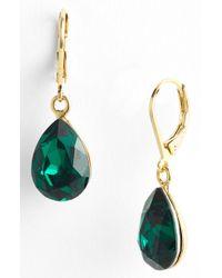 Cara Accessories Teardrop Earrings green - Lyst