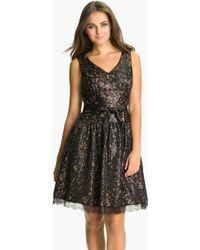 Eliza J Vneck Sequin Fit Flare Dress - Lyst