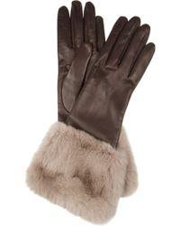 Miu Miu | Rabbittrimmed Leather Gloves | Lyst