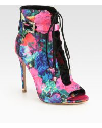 B Brian Atwood | Lindford Satin Laceup Ankle Boots | Lyst