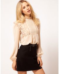 ASOS Collection Asos Blouse with Lace and Pintucks beige - Lyst
