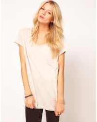ASOS Collection Asos Tshirt with Drop Pocket in Multi Colour Texture - Lyst