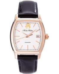Brooks Brothers Round Watch With Calfskin Band - Lyst