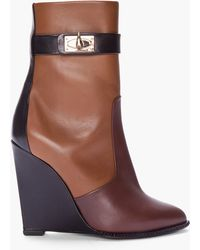 Givenchy - Brown Tricolor Sharklock Wedge Boots - Lyst