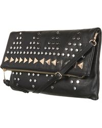 Topshop Studded Clutch black - Lyst