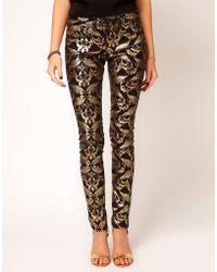 Asos Skinny Jeans in Metallic Baroque Print multicolor - Lyst