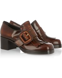 Miu Miu Fringed Glossedleather Loafers - Brown