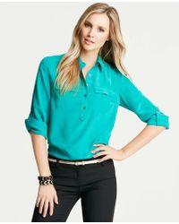 Ann Taylor Tall Silk Popover Camp Shirt - Lyst