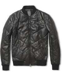 Lot78 - Quilted Leather Bomber Jacket - Lyst