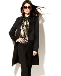 Vince Camuto Leather Collar Trench Coat - Lyst