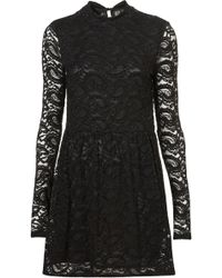 Topshop Paisley Lace Roll Neck Tunic black - Lyst