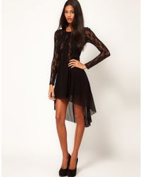 ASOS Collection Asos Lace Insert Skater Dress with High Low Hem - Lyst