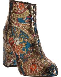 Carven - Paisley Patterned Sequined Ankle Boots - Lyst