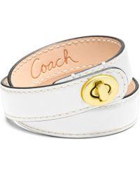 Coach Leather Double Wrap Turnlock Bracelet - Lyst