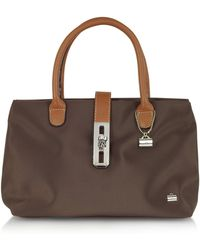 La Bagagerie Small Nylon and Leather Tote - Brown