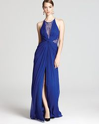 BCBGMAXAZRIA Gown Maxine Sleeveless Lace Inset blue - Lyst