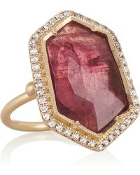 Brooke Gregson - 18karat Rose Gold Tourmaline and Diamond Ring - Lyst