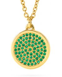 Coach Small Pave Disc Pendant Necklace - Lyst