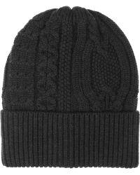 Duffy - Cableknit Merino Wool Beanie - Lyst