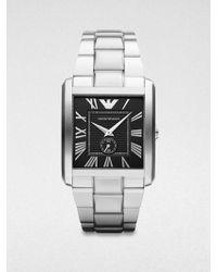 Emporio Armani Rectangular Stainless Steel Watch silver - Lyst