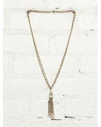 Free People Vintage Pearl Tassel Necklace - Lyst