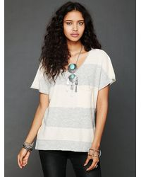 Free People Striped Short Sleeve Sweater - Lyst