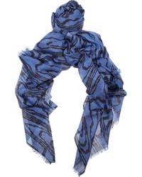 Kelly Wearstler Ikatprint Silk and Woolblend Scarf blue - Lyst