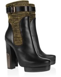 Lanvin Leather and Lurex Boots - Lyst