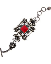 Lanvin Pewter Crystal Bracelet - Lyst