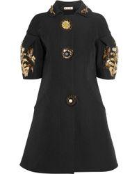 Marni Brooch and Jewelembellished Crepe Coat black - Lyst