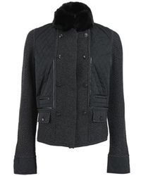 Rena Lange - Quilted Front Jacket with Fur Collar - Lyst