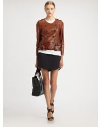 3.1 Phillip Lim Rufflehem Leather Jacket - Lyst