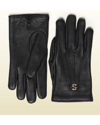 Gucci Women's Black Leather Glove - Lyst