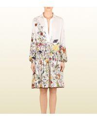 Gucci Floral Print Dress white - Lyst