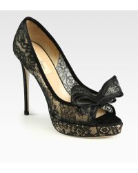 Valentino Couture Lace Satin Bow Pumps - Lyst