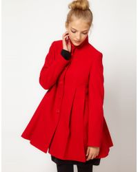 ASOS Collection Asos Pleat Swing Front Coat - Lyst