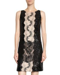 Dolce & Gabbana Lace Trim Sequin Dress black - Lyst