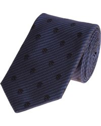 Alexander McQueen Stripe and Skull Tie - Lyst