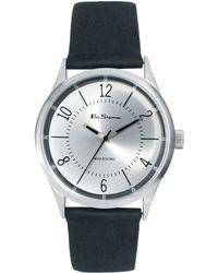Ben Sherman Silver Dial Leather Strap Watch - Lyst