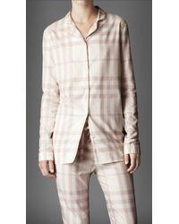 Burberry Check Cotton Night Shirt - White